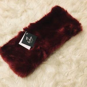 NWT- Echo NY Port Red Faux Fur Scarf / Neckwarmer